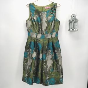 Eliza J Green Floral Fit and Flare Dress